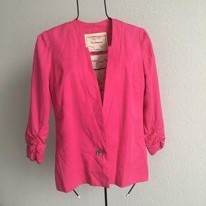 Anthropologie bright pink blazer